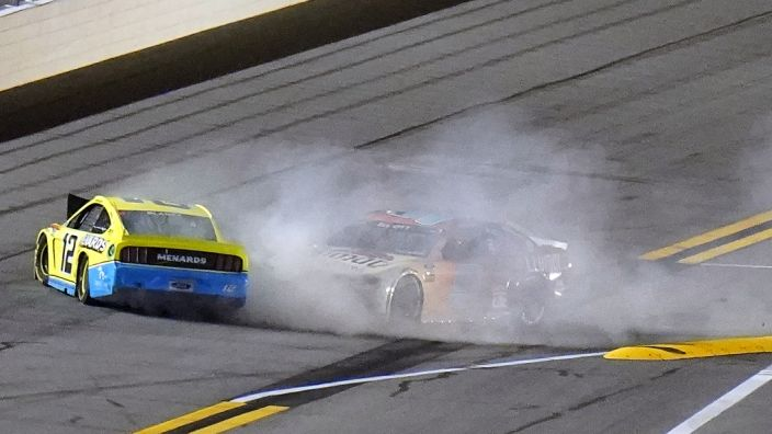 Ryan Blaney & Chase Elliott Tangle on Last Lap to hand Kyle Busch Clash Victory