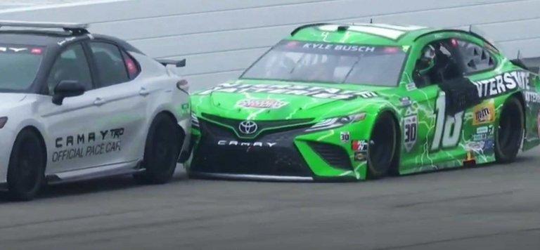 Kyle Busch hit pace car